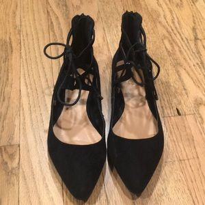 Black pointed toe flats